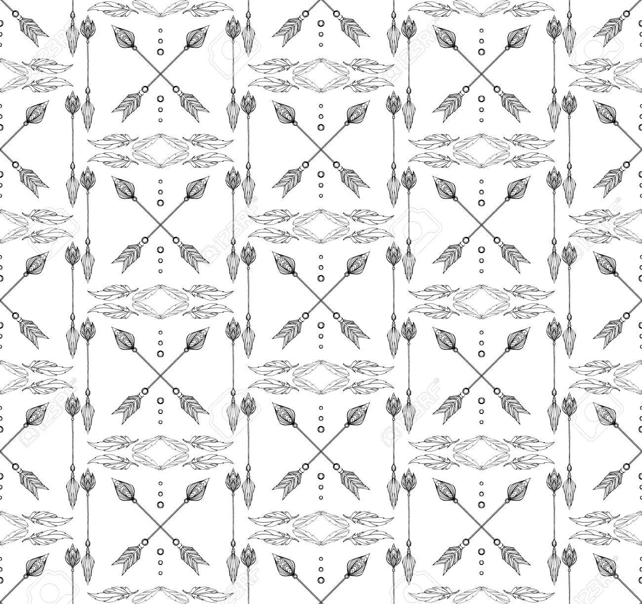 Seamless Black And White Boho Texture Of Arrows And Feathers 1300x1224