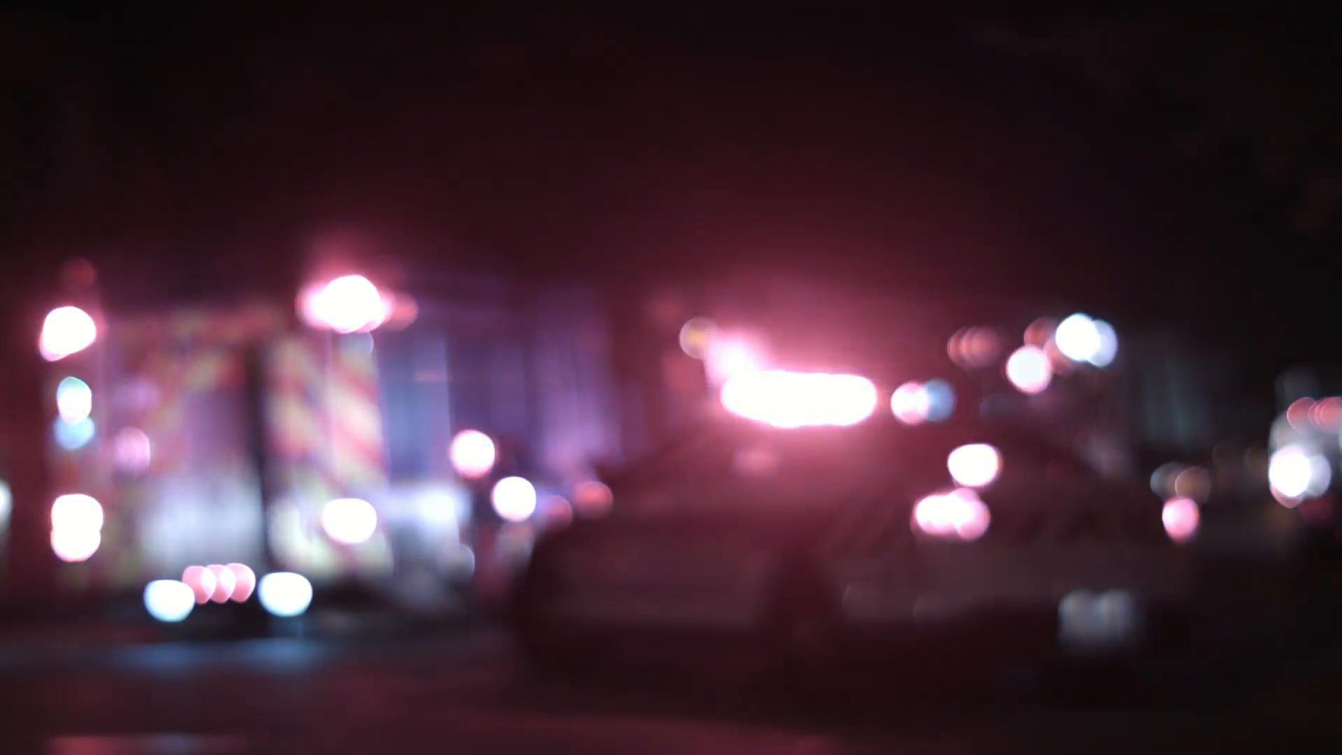 Ambulance Cops and Firetrucks Blurry Lights Background at Night 1920x1080