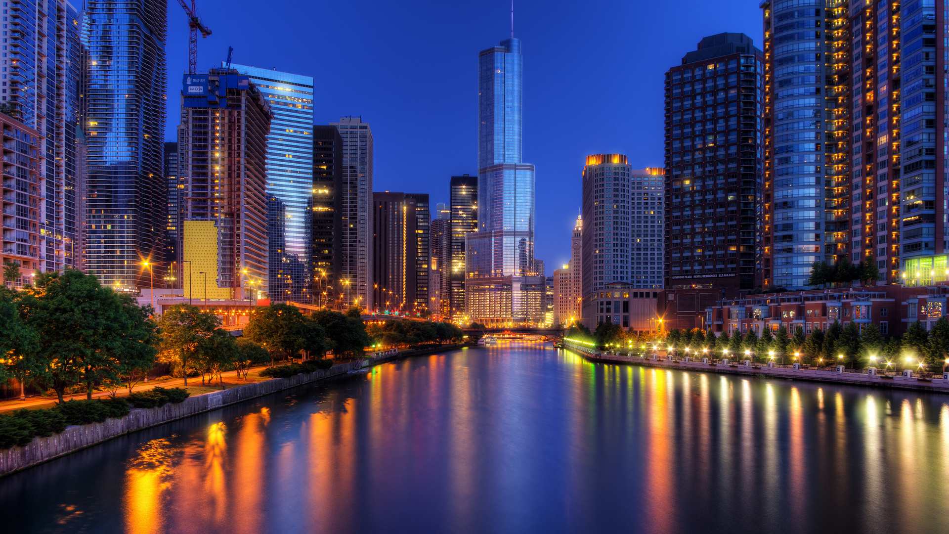 1920x1080 Chicago Night Chicago Illinois Usa The City 1920x1080