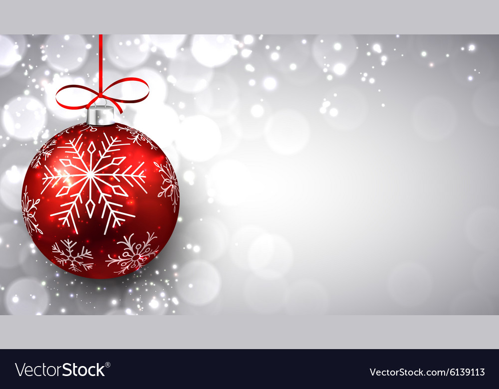 Silver christmas background with red ball Vector Image 1000x780