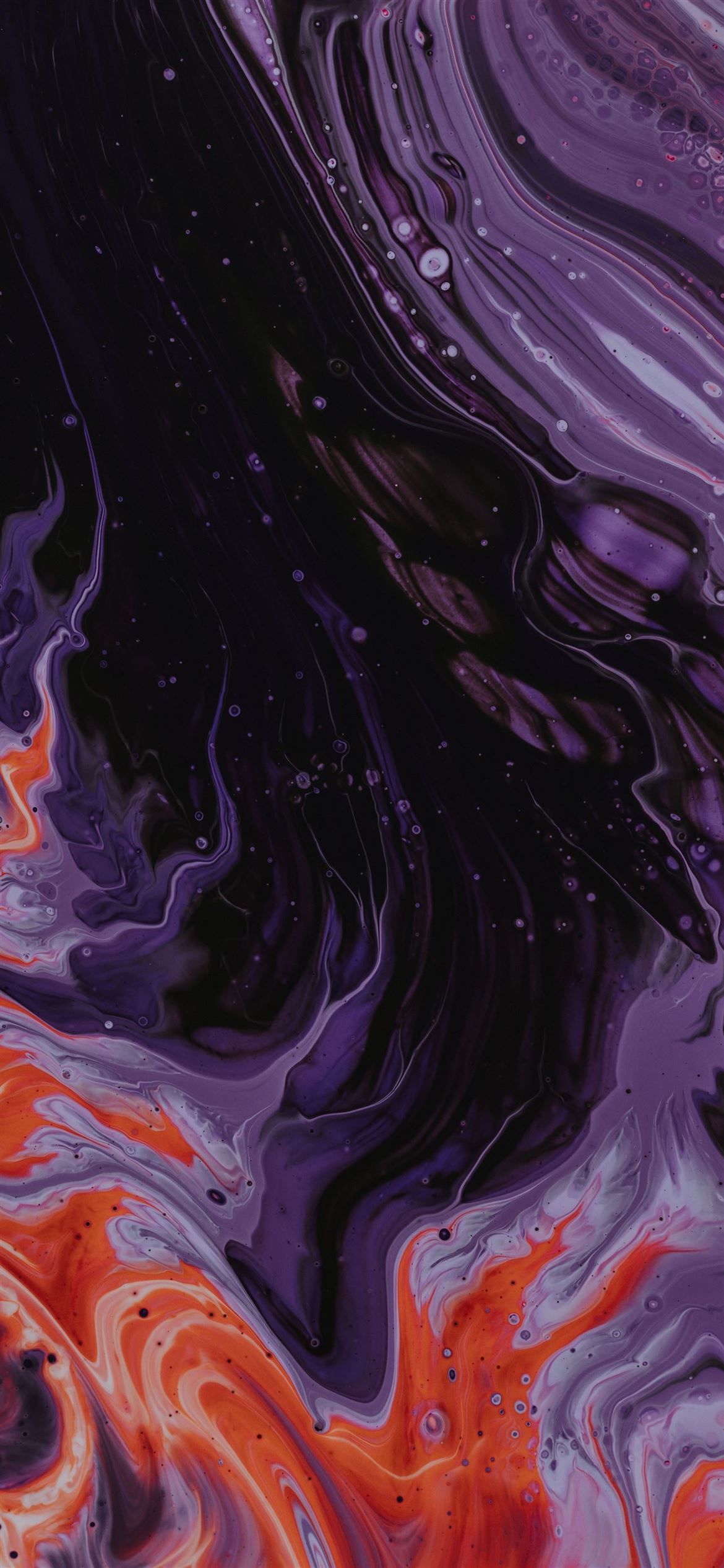 purple black and orange abstract paintin iPhone 12 Wallpapers 1170x2532