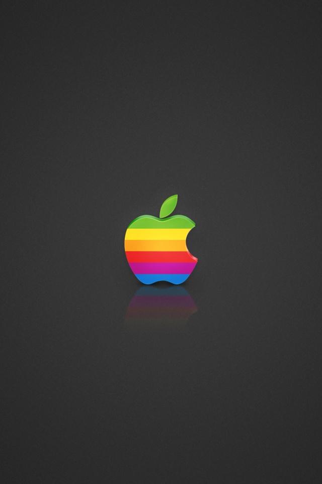 640x960 Coloured Apple logo Iphone 4 wallpaper 640x960