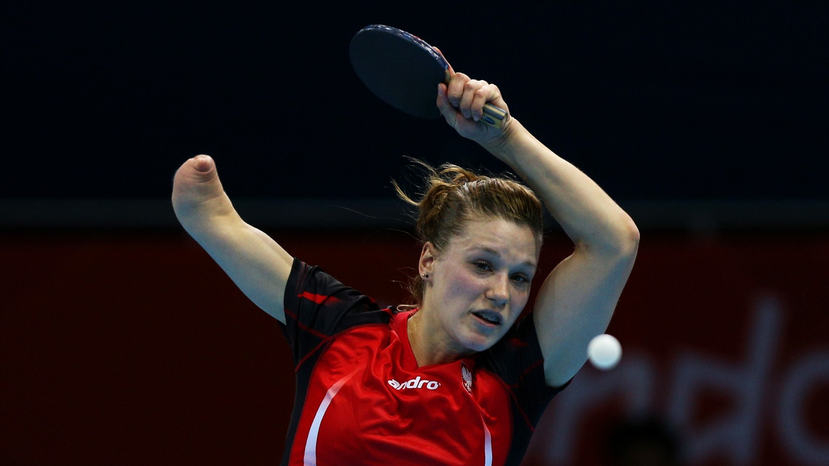 snapshot of Natalia Partyka playing Table Tennis Wallpaper HD 1680x945