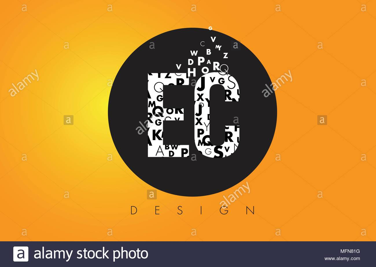 EC E C Logo Design Made of Small Letters with Black Circle and 1300x925