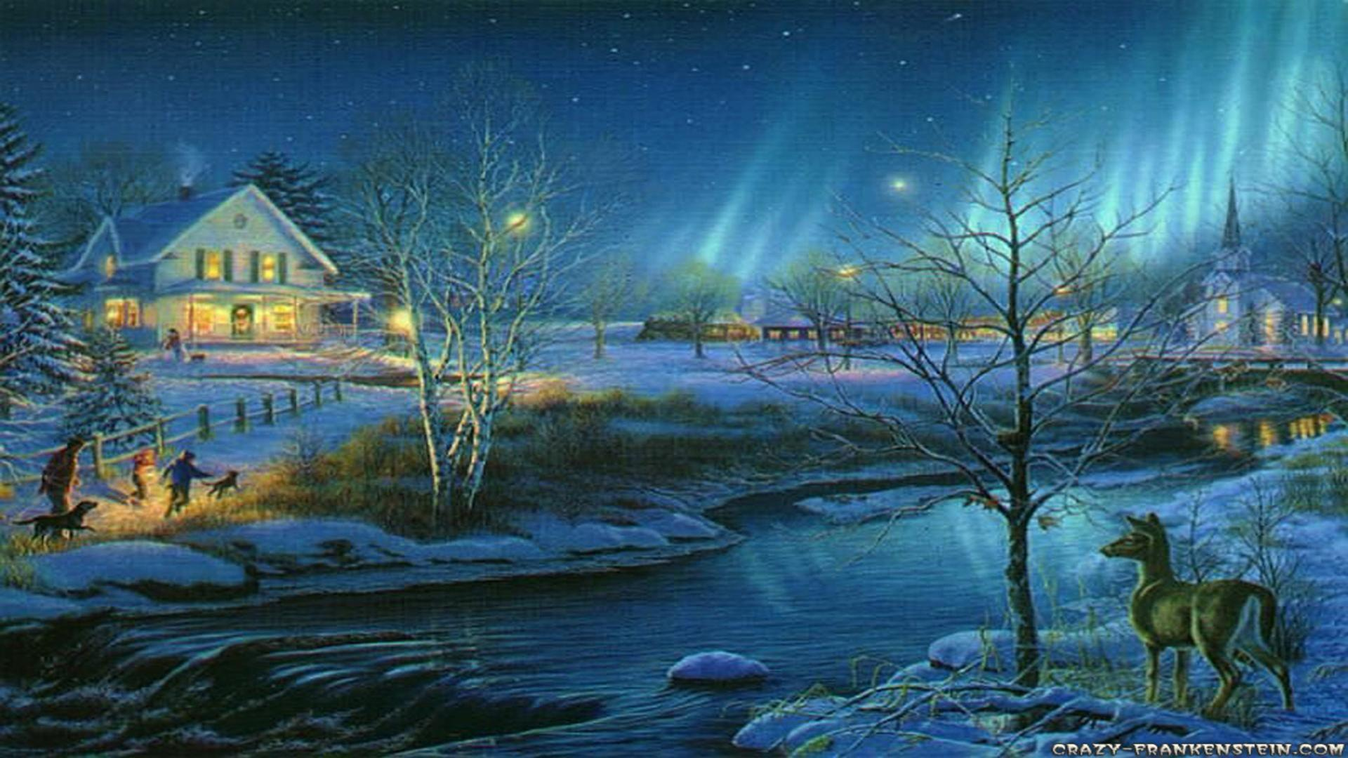 Free wallpaper winter christmas scenes wallpapersafari for Christmas landscape images