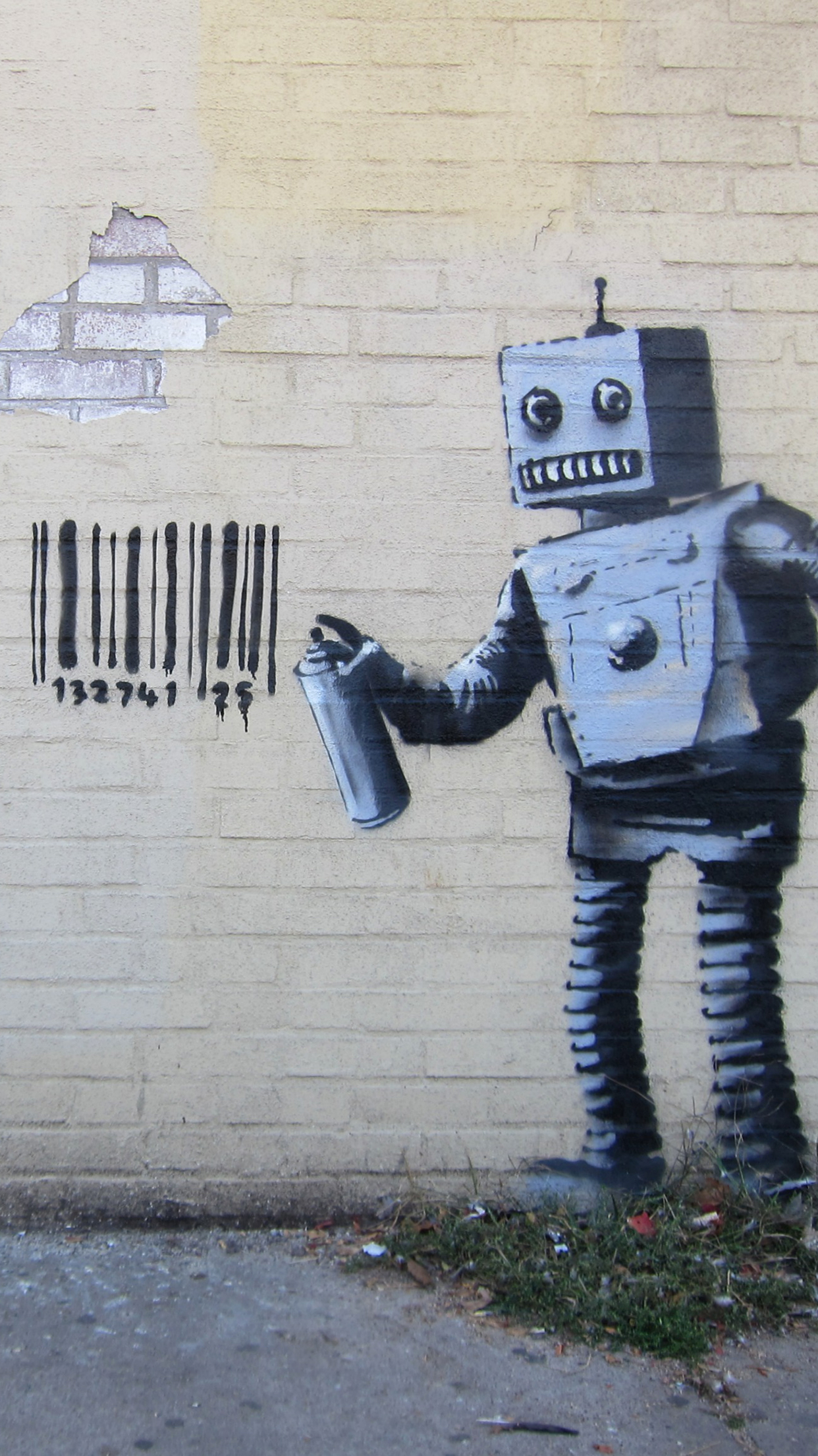Banksy robot iPhone 3Wallpapers Parallax Les 3 Wallpapers iPhone du 1242x2208