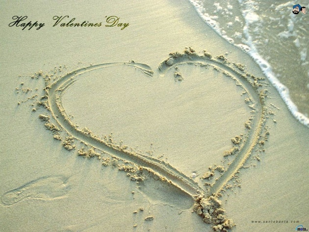 Wallpaper Heart on sand at beach   Photos and Walls 630x473