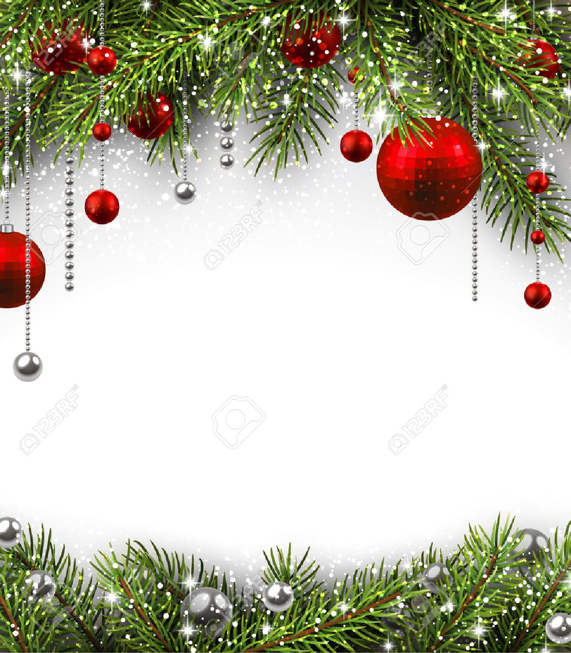 Christmas Background With Fir Branches And Balls Royalty 1136x1300