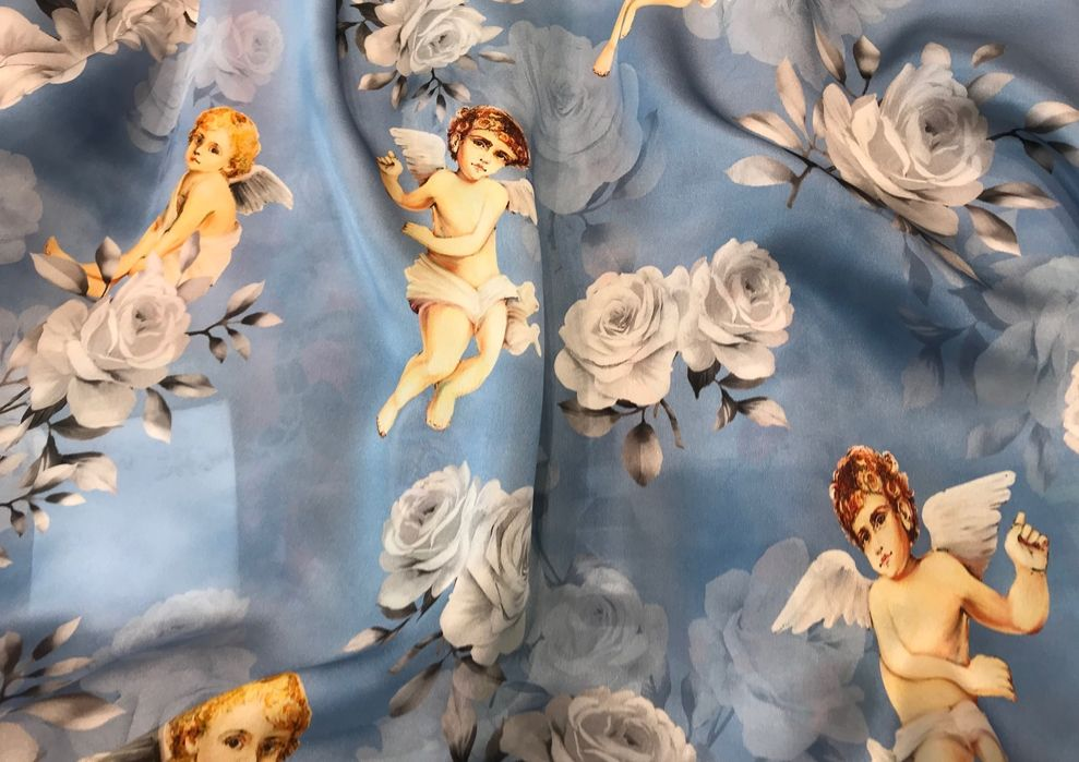 Cotton Fabric NEW Designer Winged Cherub Silk Charmeuse Made in 989x699