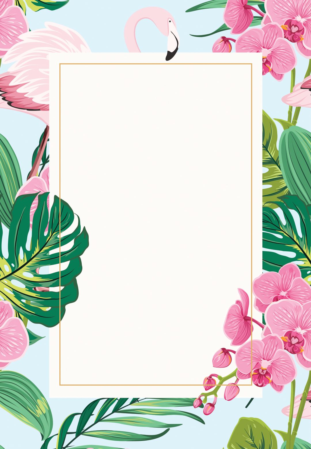 Orchids Flamingo   Birthday Invitation Template 1080x1560