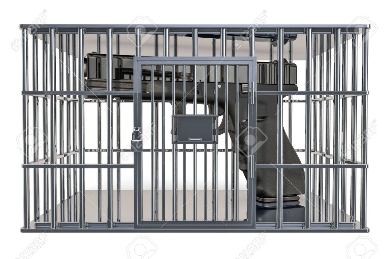 Cage Prison Cell With Gun 3D Rendering Isolated On White 1300x866