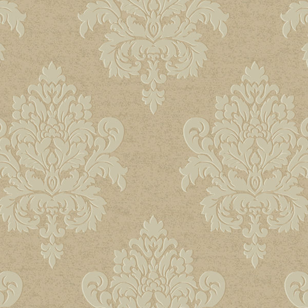 Beige and Silver Etched Damask Wallpaper   Wall Sticker Outlet 600x600