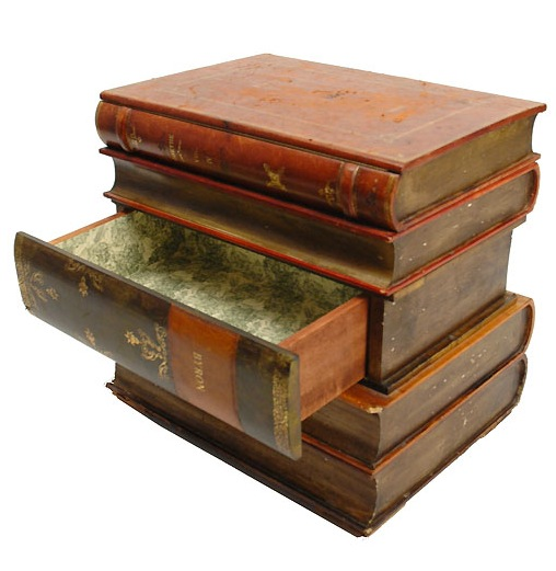 1940s Trompe lOeil Stack of Books Side Table 508x521