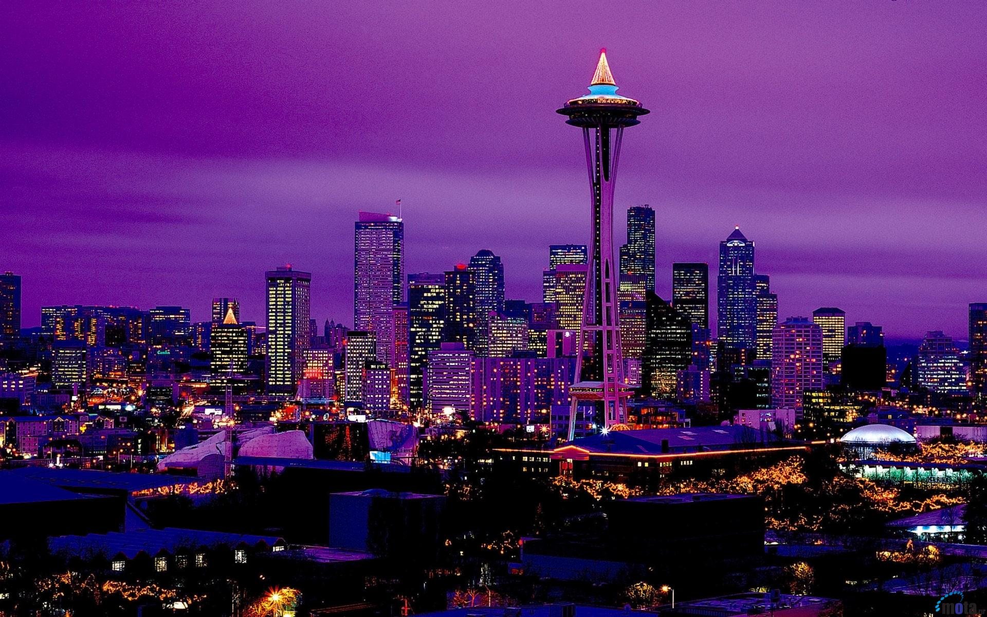 Download Wallpaper Seattle by night Washington USA 1920 x 1200 1920x1200