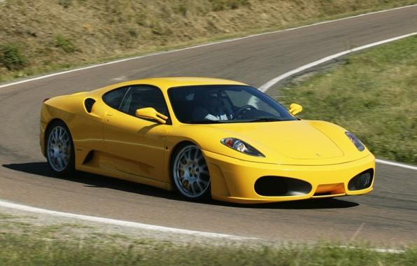 Wallpaper ferrari f430 ferrari supercar yellow front end the road 596x380