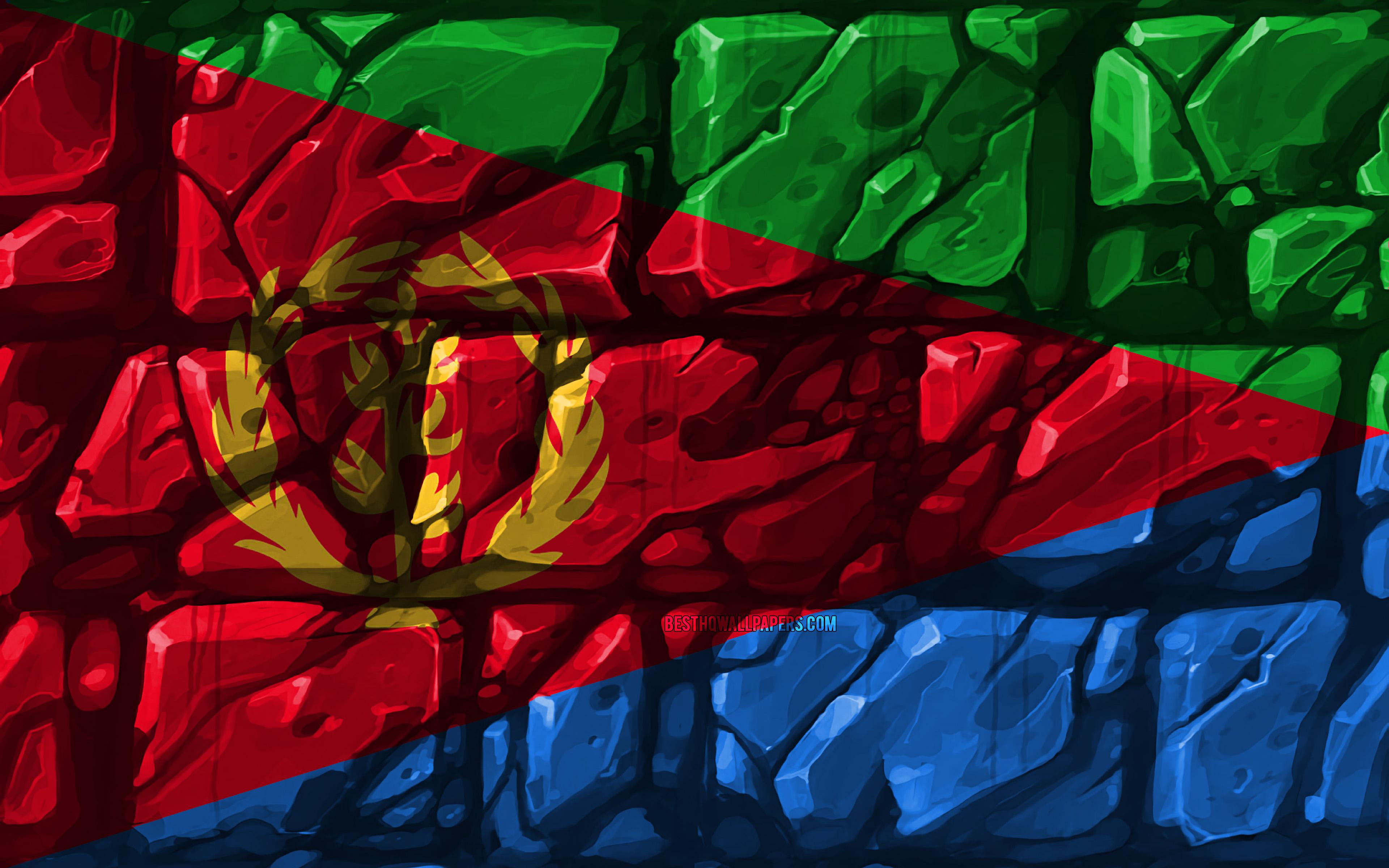 Download wallpapers Eritrean flag brickwall 4k African 3840x2400