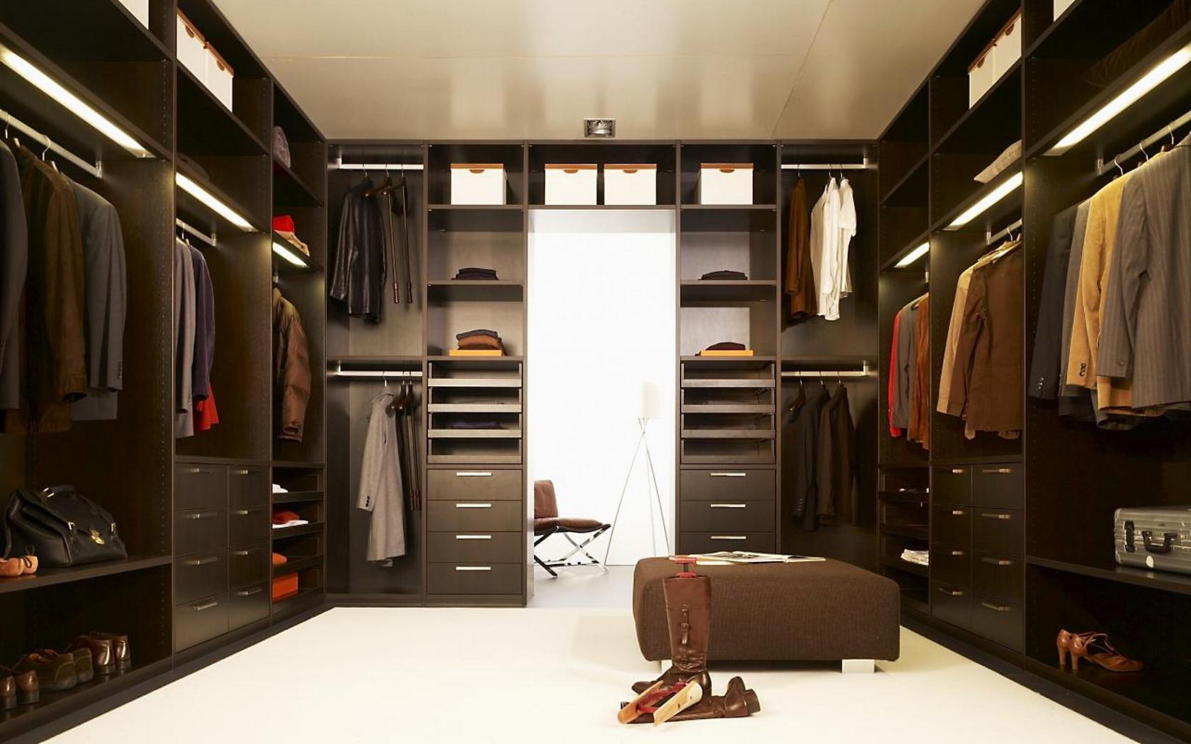 Interior Design Elegant Dark Brown Wardrobe Closet With Two Row 1680x1050