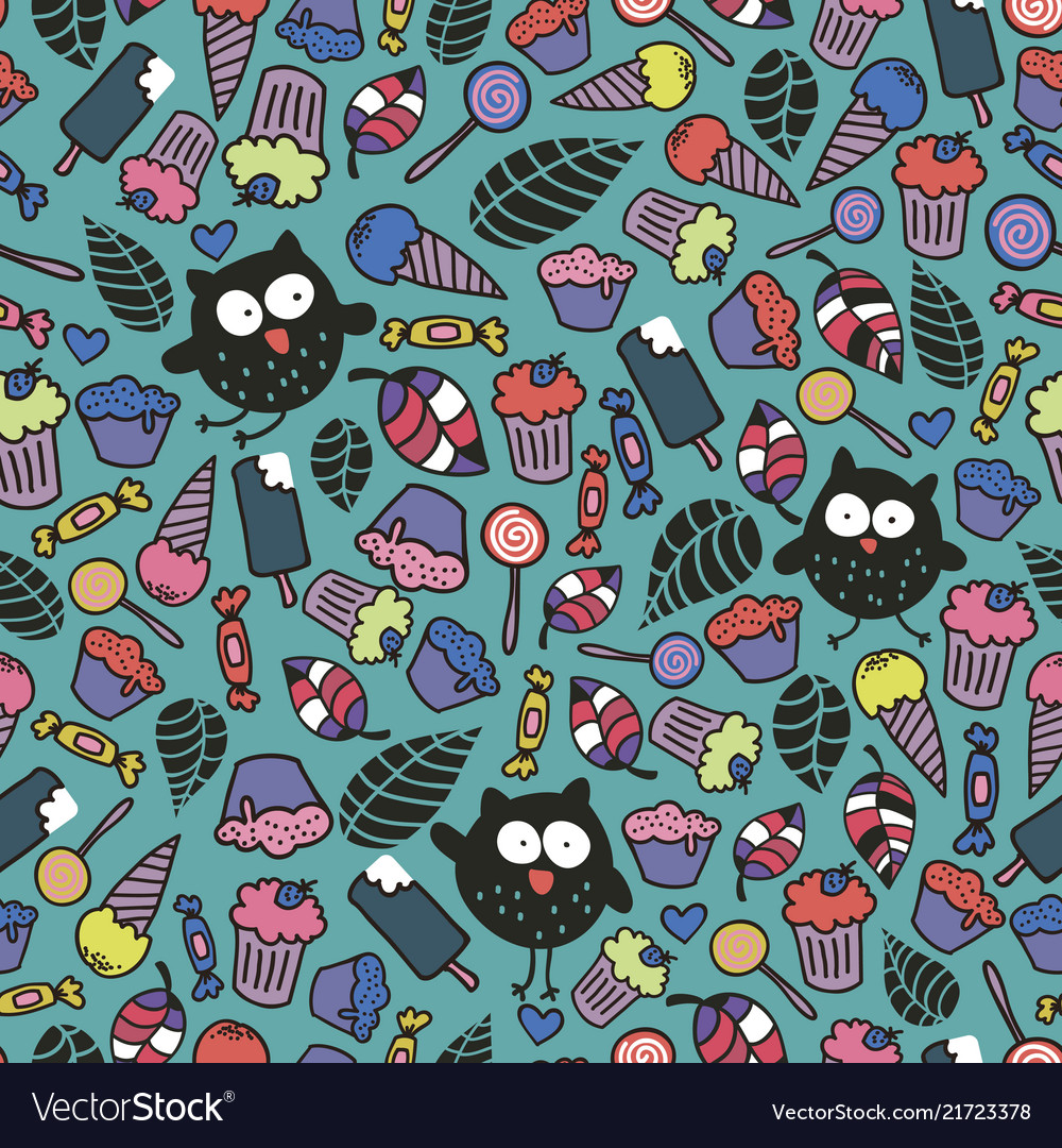 Endless wallpaper with cute crazy owls and candies 1000x1080