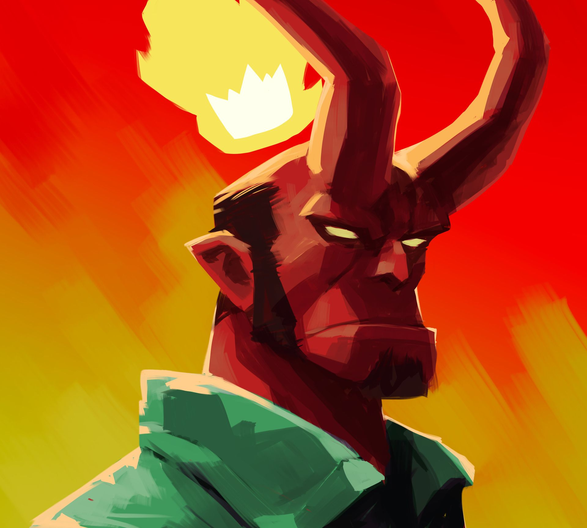 Artistic Hellboy Full HD Wallpaper 1920x1728