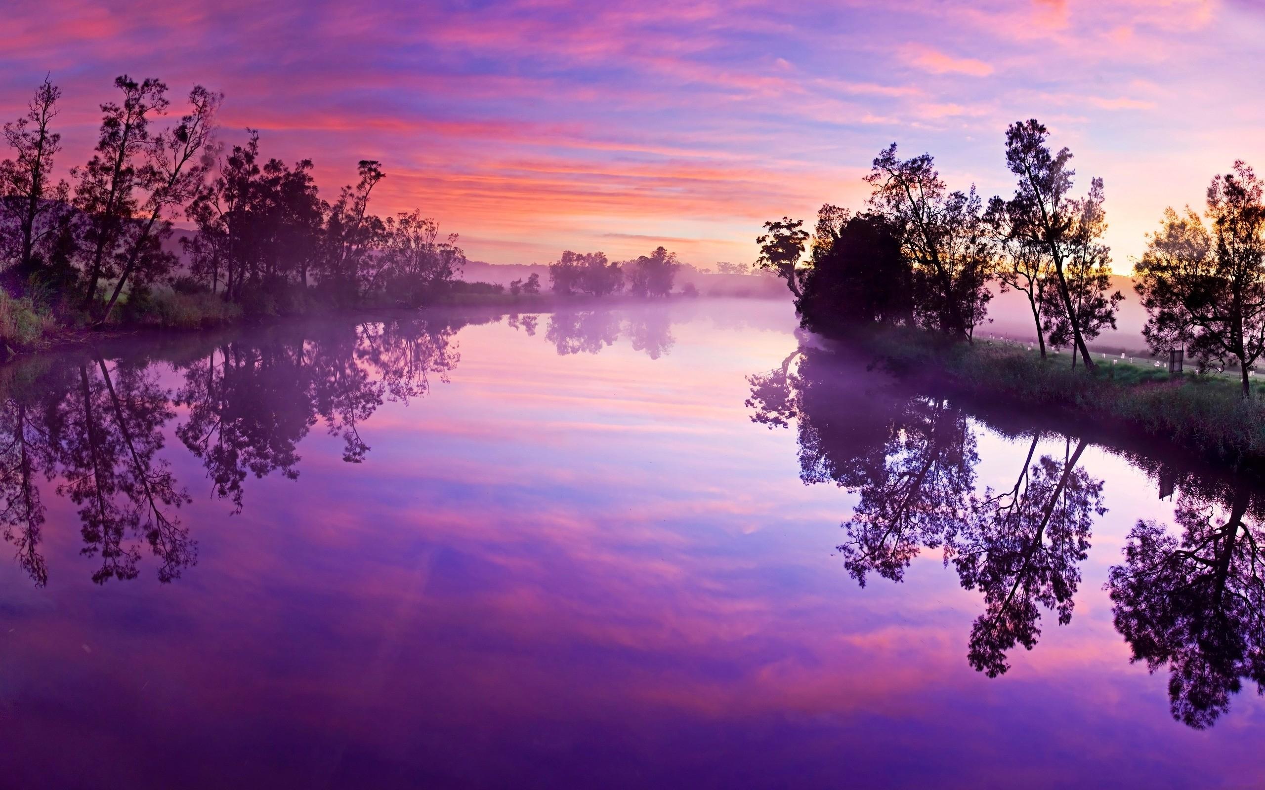 Purple Sky River Trees Reflect wallpapers Purple Sky River Trees 2560x1600
