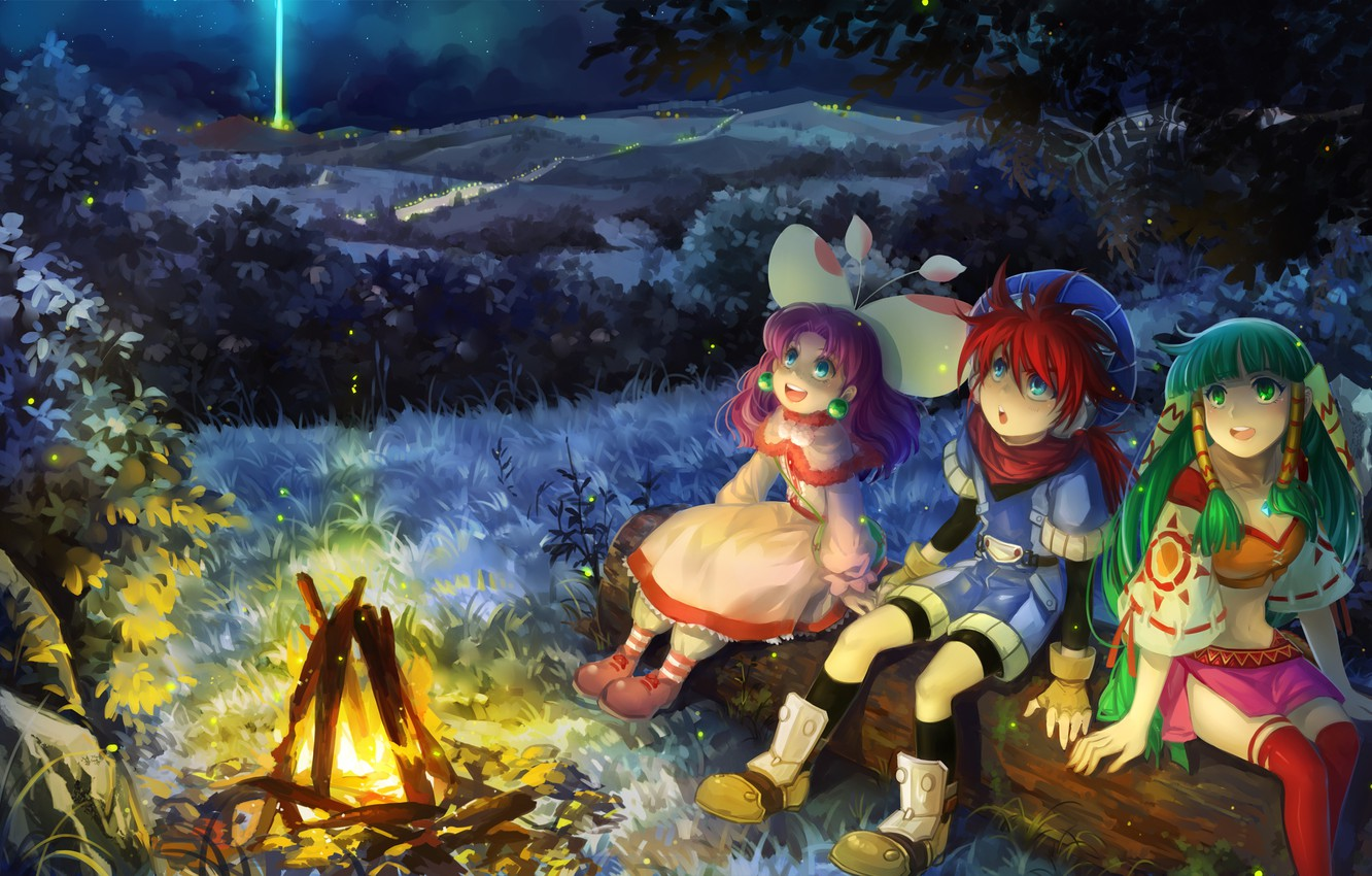 Wallpaper forest night the game the fire game forest night 1332x850