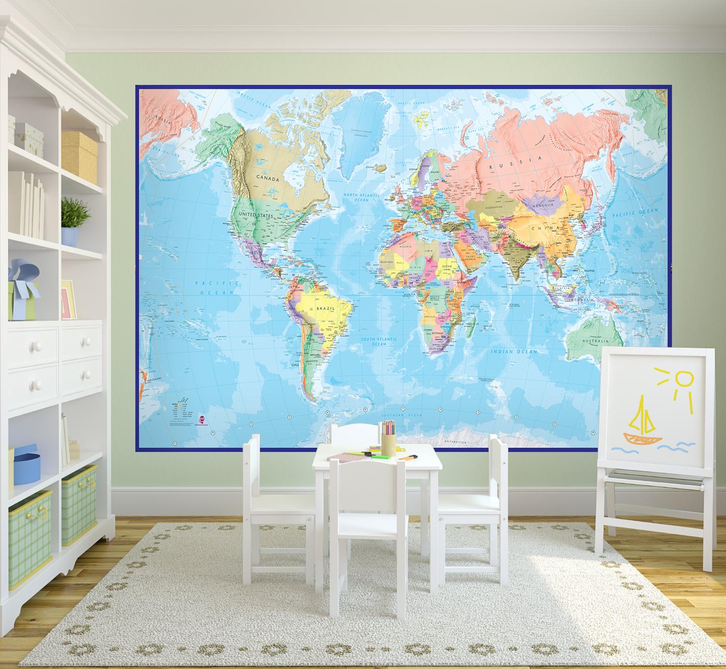 World Map Murals Wallpaper Wallpapersafari