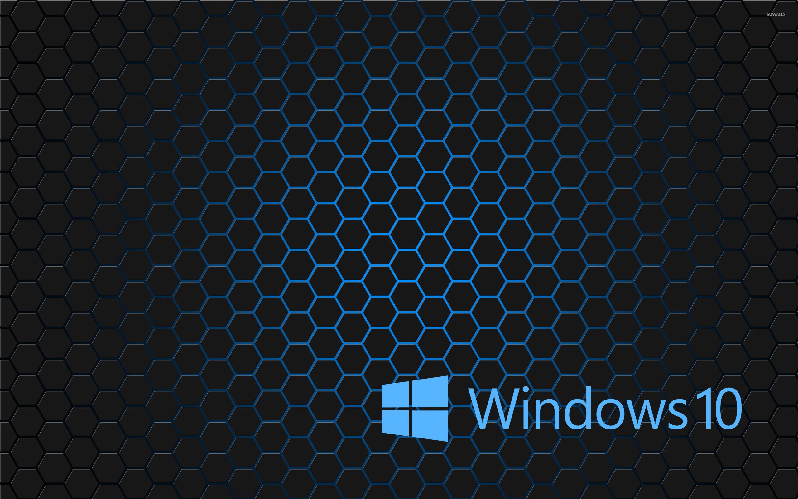 Windows 10 blue text logo on hexagons wallpaper   Computer wallpapers 1680x1050