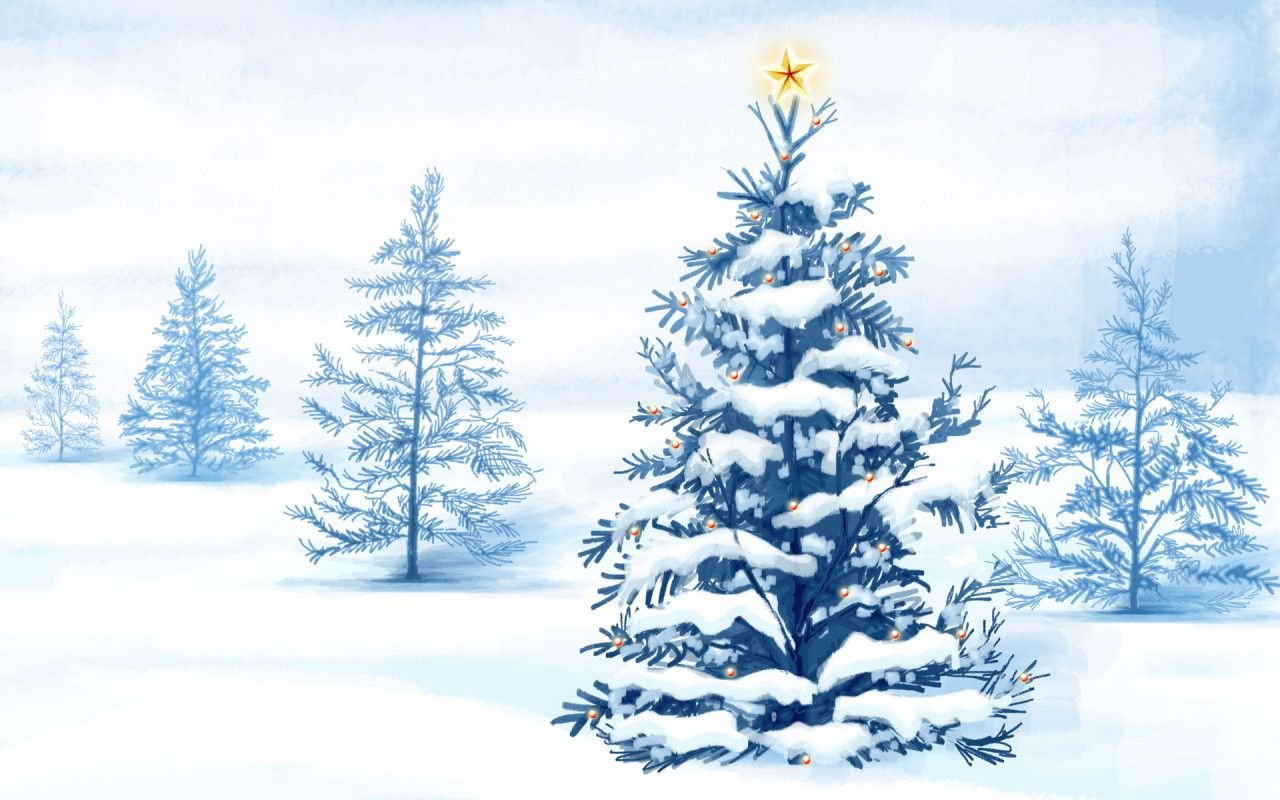 Christmas Tree   Snow Wallpaper   Christian Wallpapers and Backgrounds 1280x800