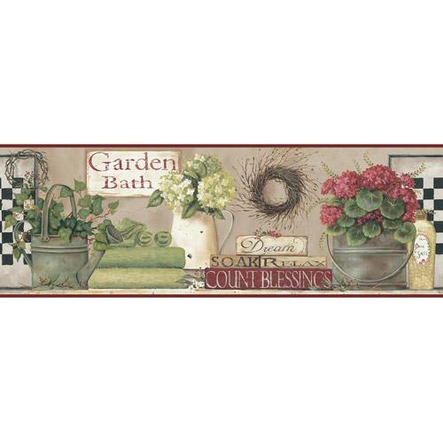 Garden Bath Wall Border Soft Linen TaupeHint Of RedGreenBlack 500x500