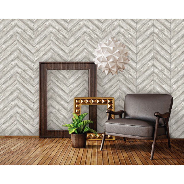 Herringbone Self Adhesive Removable Textured Wallpaper Ash 205x33 640x640