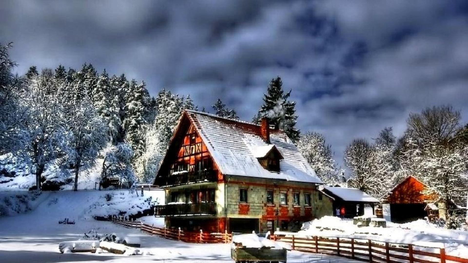 winter cabin wallpaper for desktop wallpapersafari