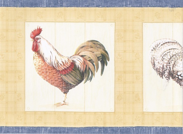Blue Yellow Cream Roosters Wallpaper Border   Country Folk 640x469