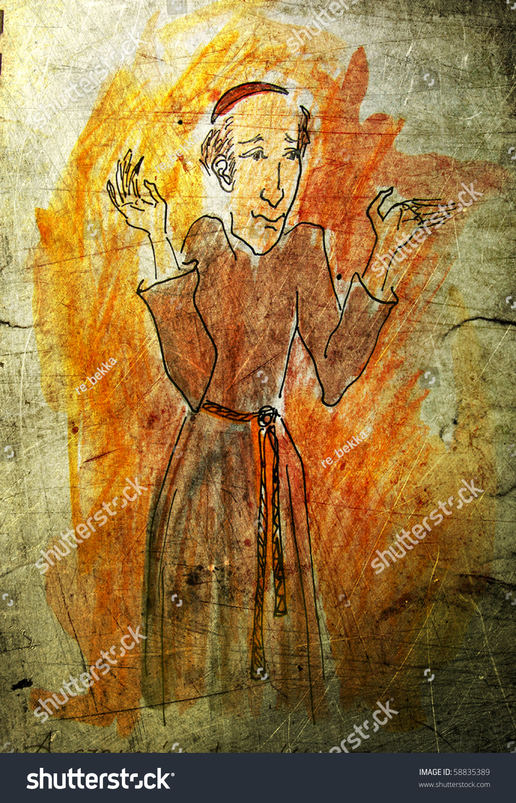 Illustrated Funny Chaplain On Grunge Background Stock Illustration 1029x1600