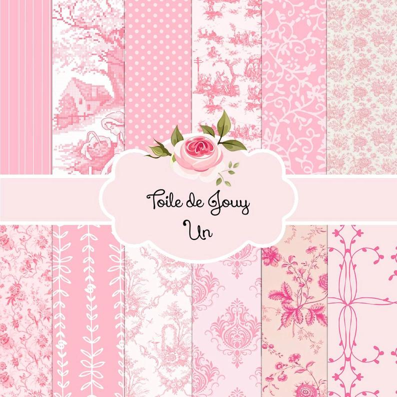 French Toile de Jouy Pink White Creme Ivory Backgrounds Etsy 794x794