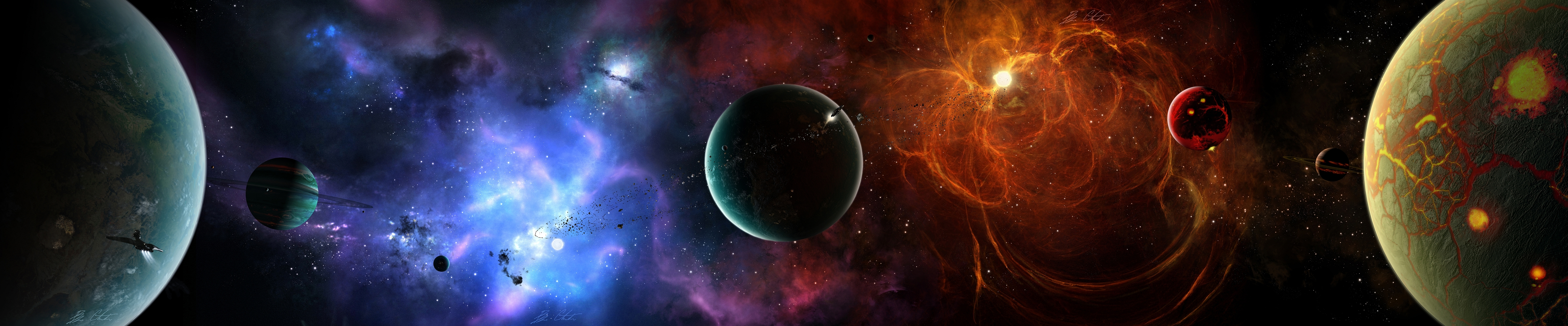 dual screen wallpapers space