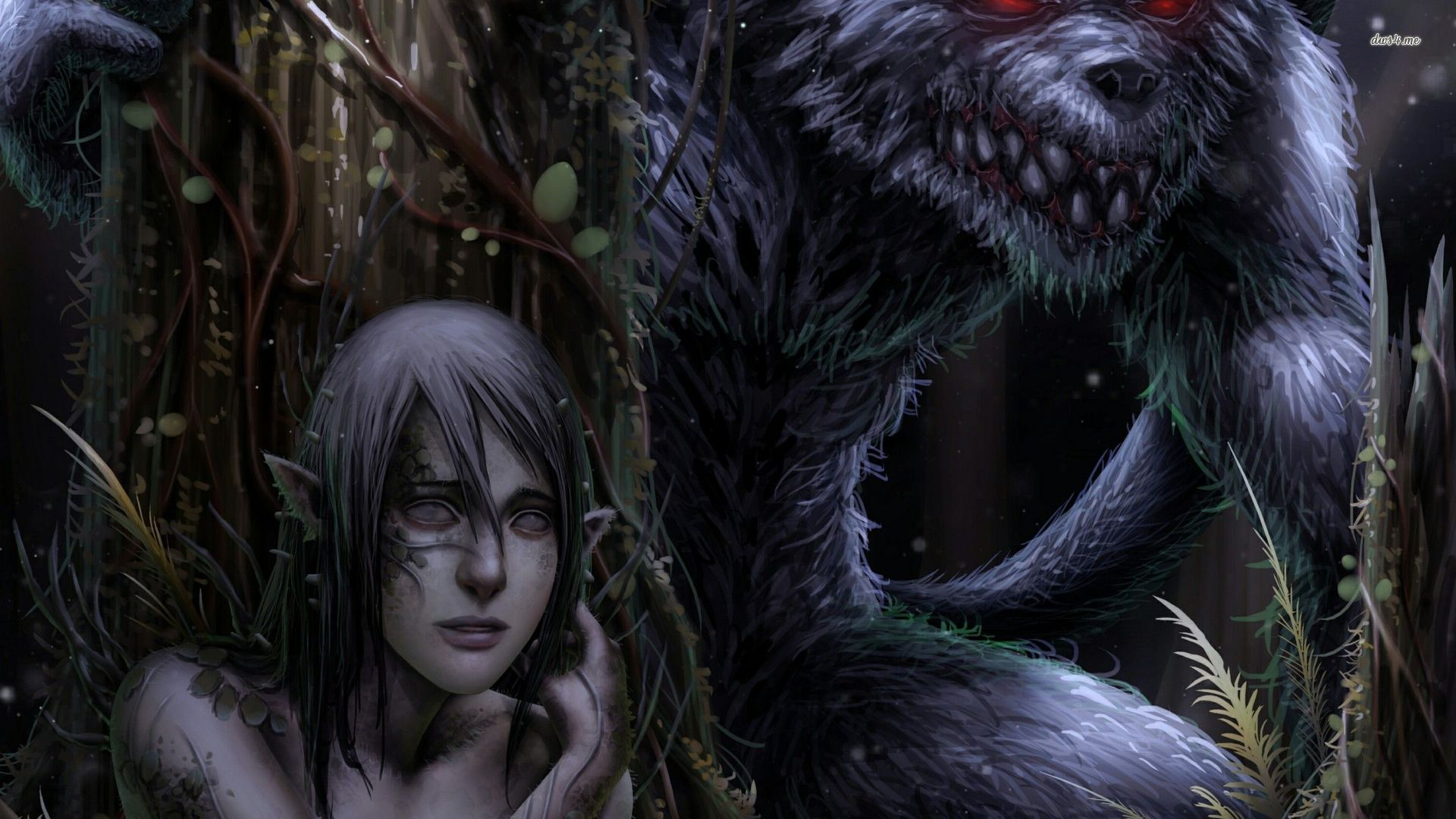 Elf And A Werewolf Wallpaper Fantasy Wallpapers 31023 1920x1080