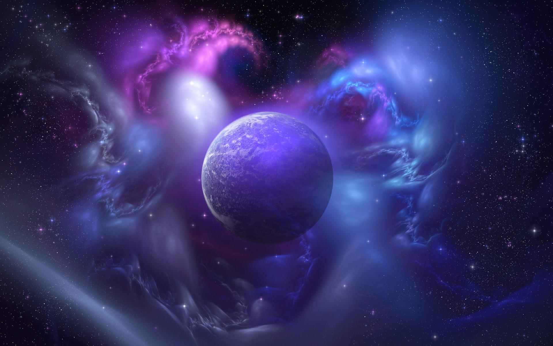 Purple Space Planet desktop wallpaper 1920x1200