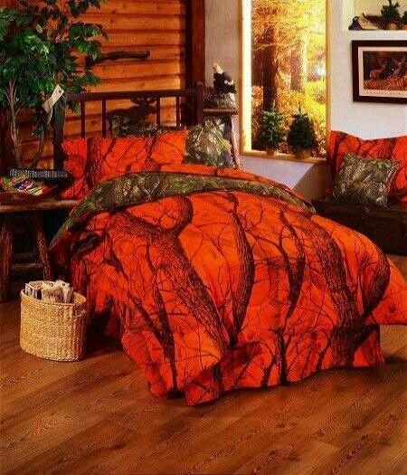 Orange safety camo bed set Huntingcamo Pinterest 450x525
