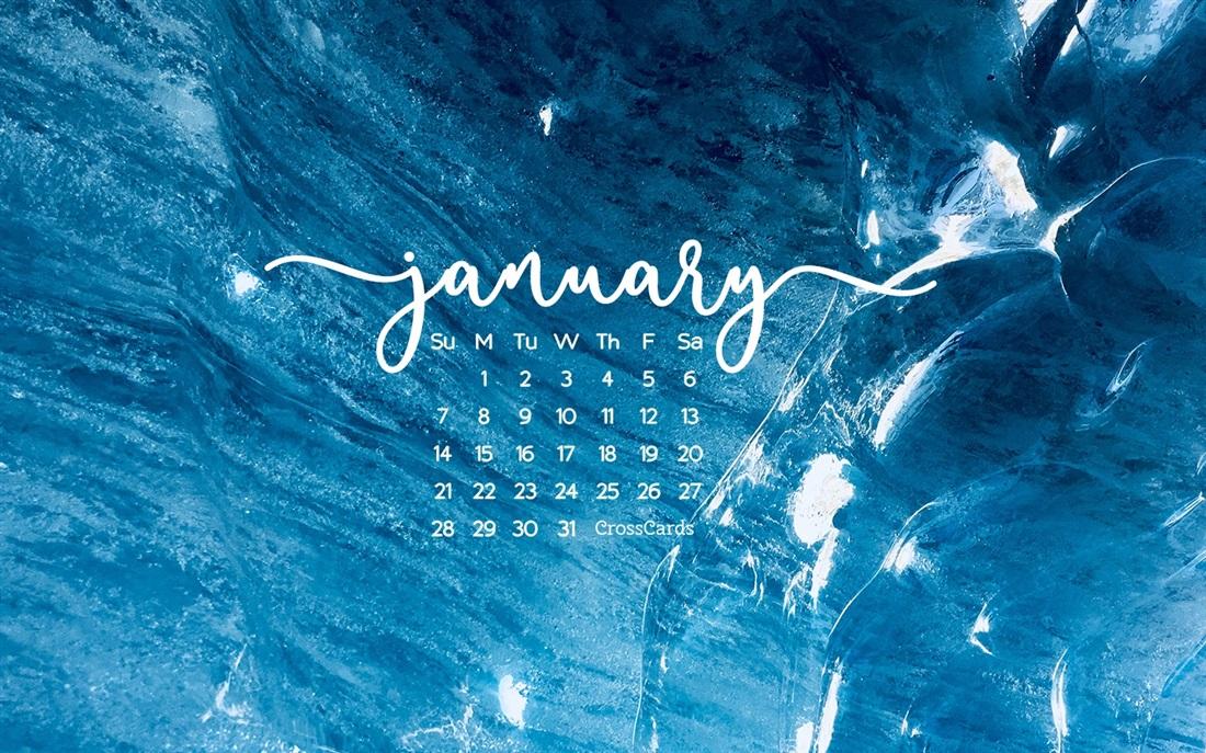 January 2018   Blue Desktop Calendar  January Wallpaper 1100x687
