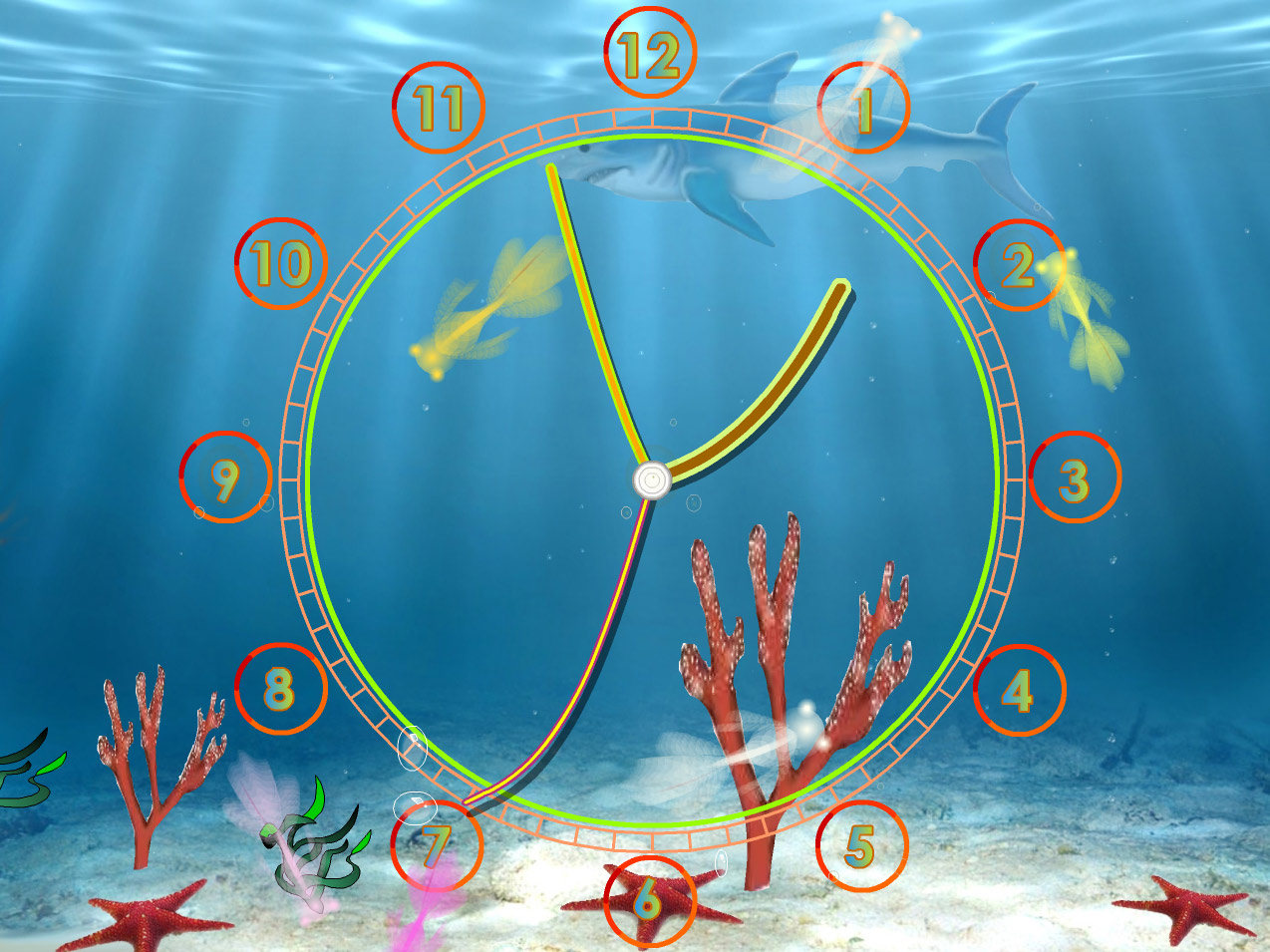 Aquarium Clock screensaver always know the current time with fun 1274x955