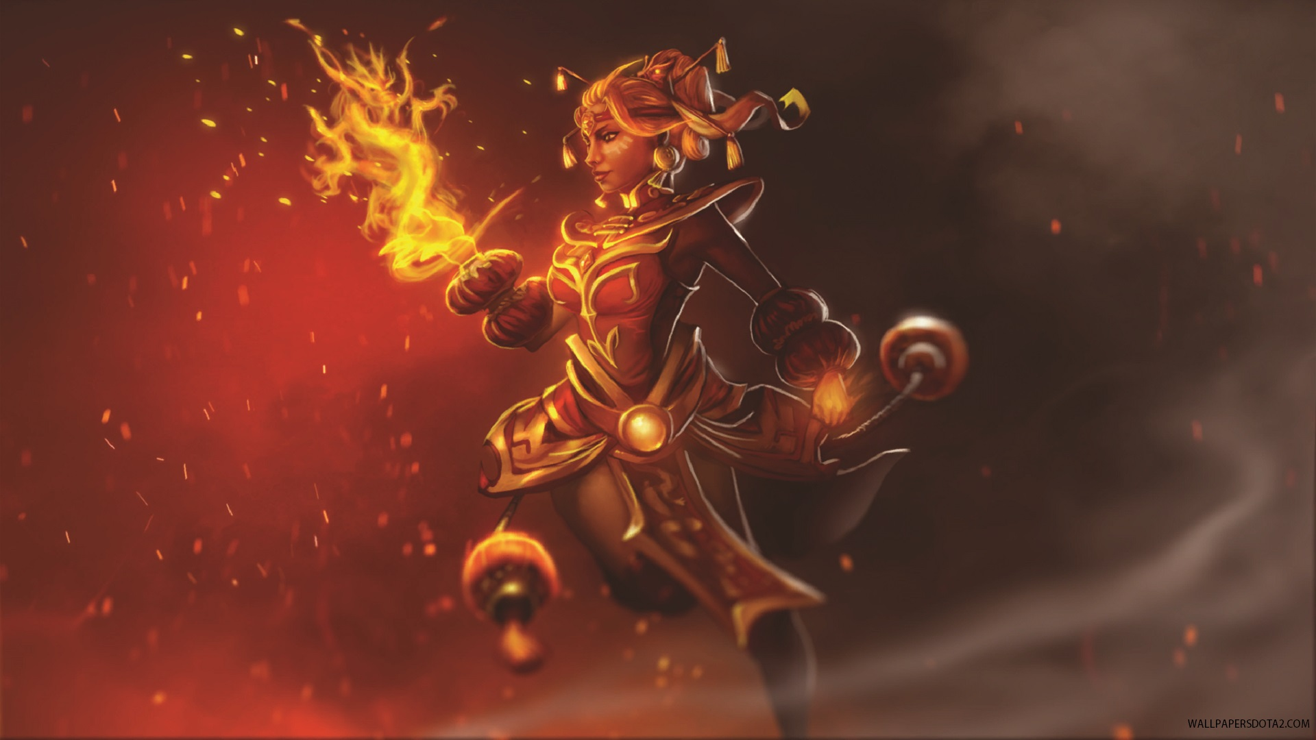 Lina Dragonfire set backgrounds for pc laptops Dota 2 Wallpapers 1920x1080