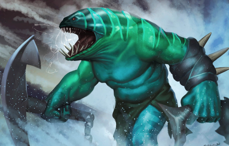 Wallpaper squirt monster fish teeth art Dota 2 anchor 1332x850
