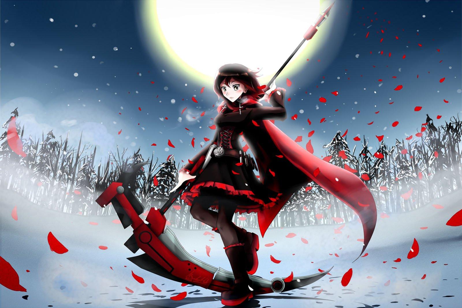 Ruby Rose Red RWBY Death Scythe Full Moon Anime HD Wallpaper Desktop 1600x1067