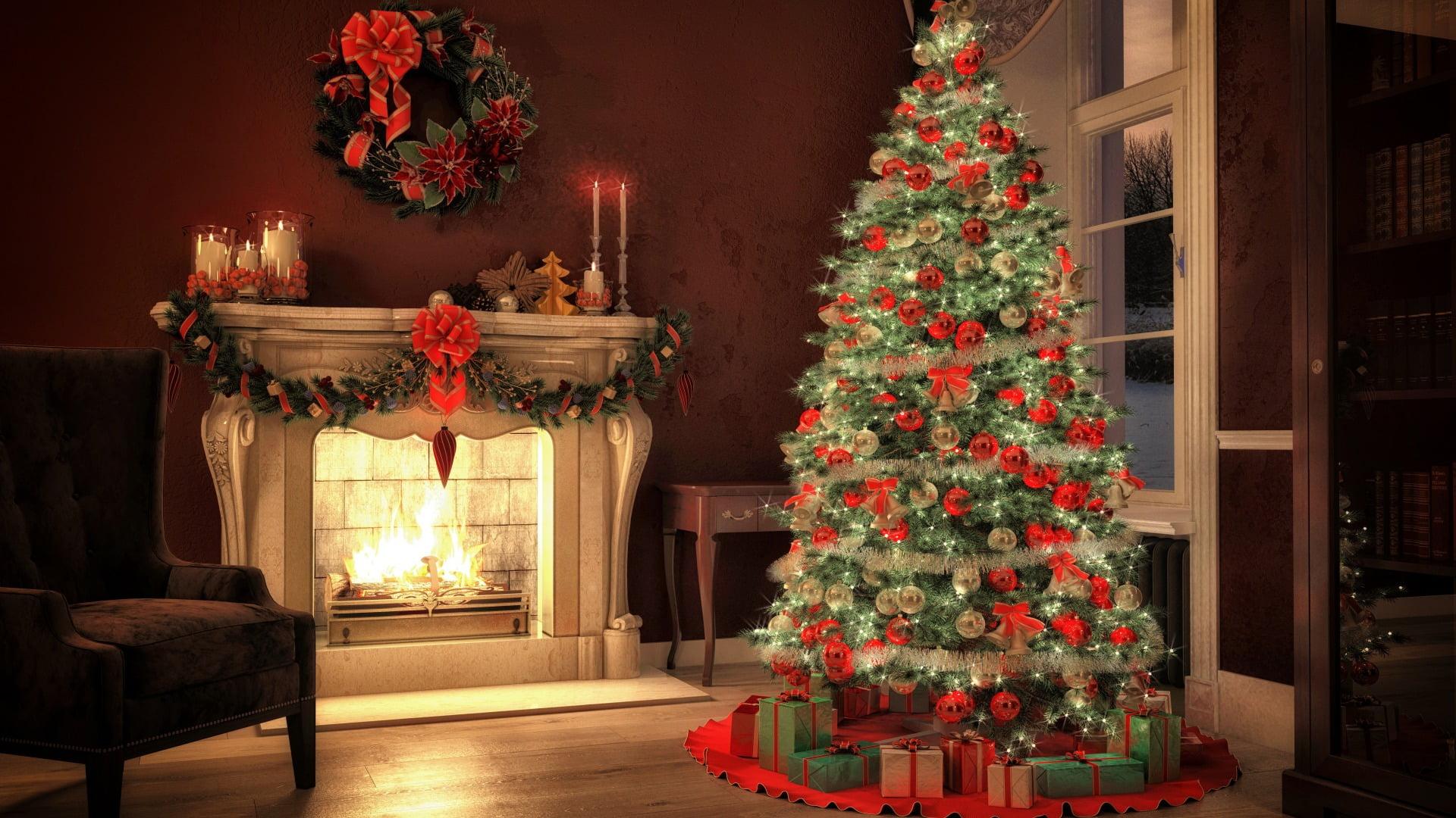 Green Christmas tree and Christmas ornament lot Christmas tree 1920x1080