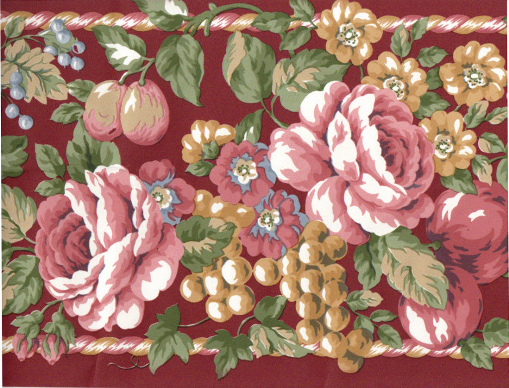 Red Burgundy Cabbage Rose Floral Flower Fruit Apple Grape Rope Wall 1024x782