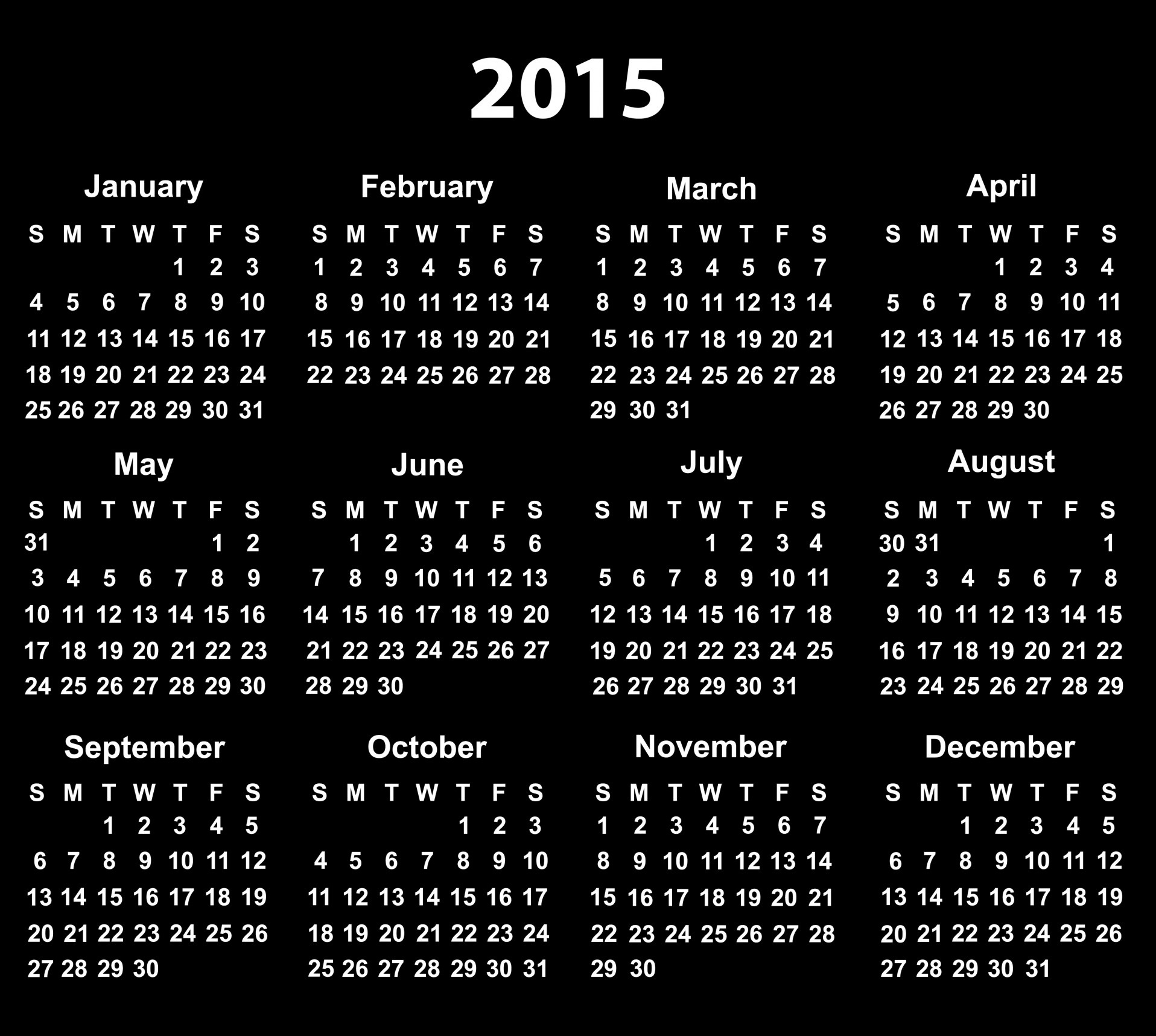 Black calendar 2015 wallpaper   HD Wallpapers 1916x1717