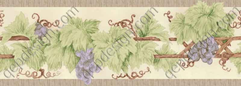 Trellis Sketch grape vine traditional kitchen wallpaper border from 800x288