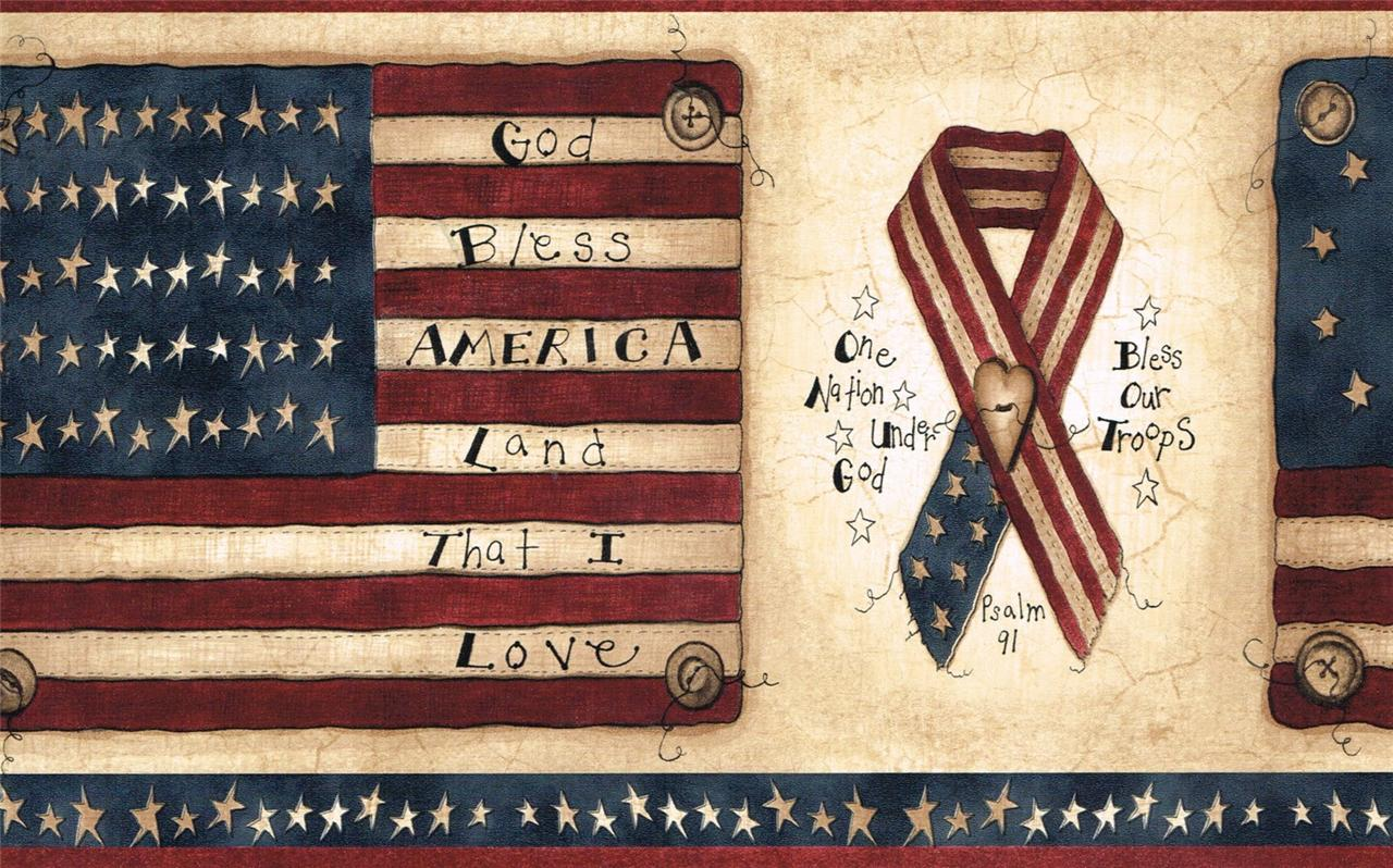 Details about Wallpaper Border Patriotic Americana Flags Ribbons Stars 1280x798
