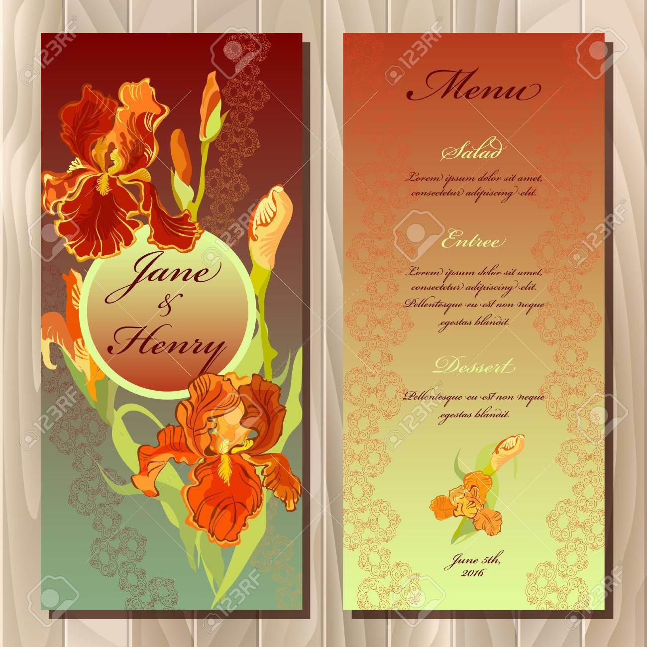 Wedding Menu Card With Iris Flowers And Lace Stripe Vector 1300x1300