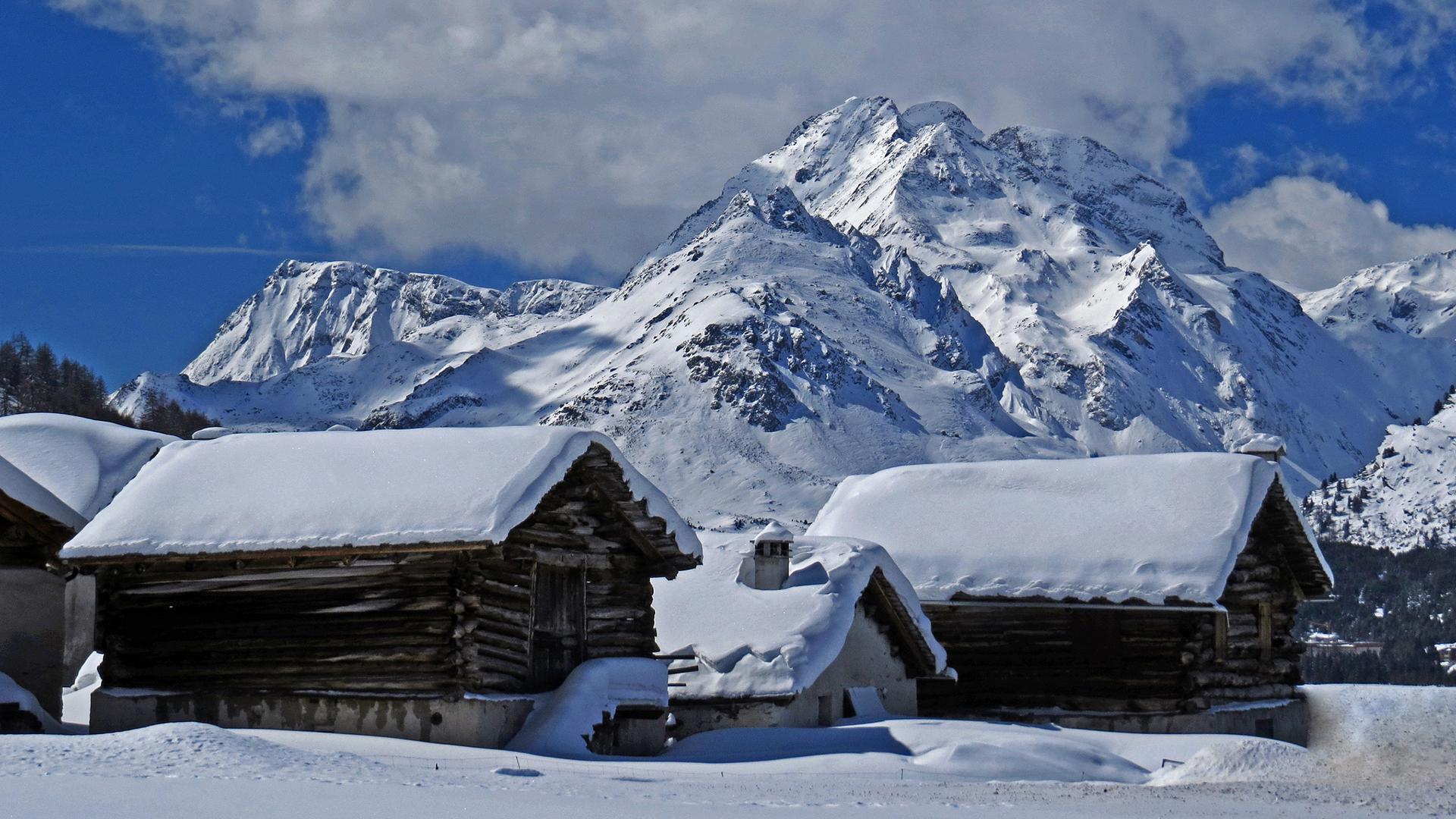деревня зима горы  № 3188540  скачать